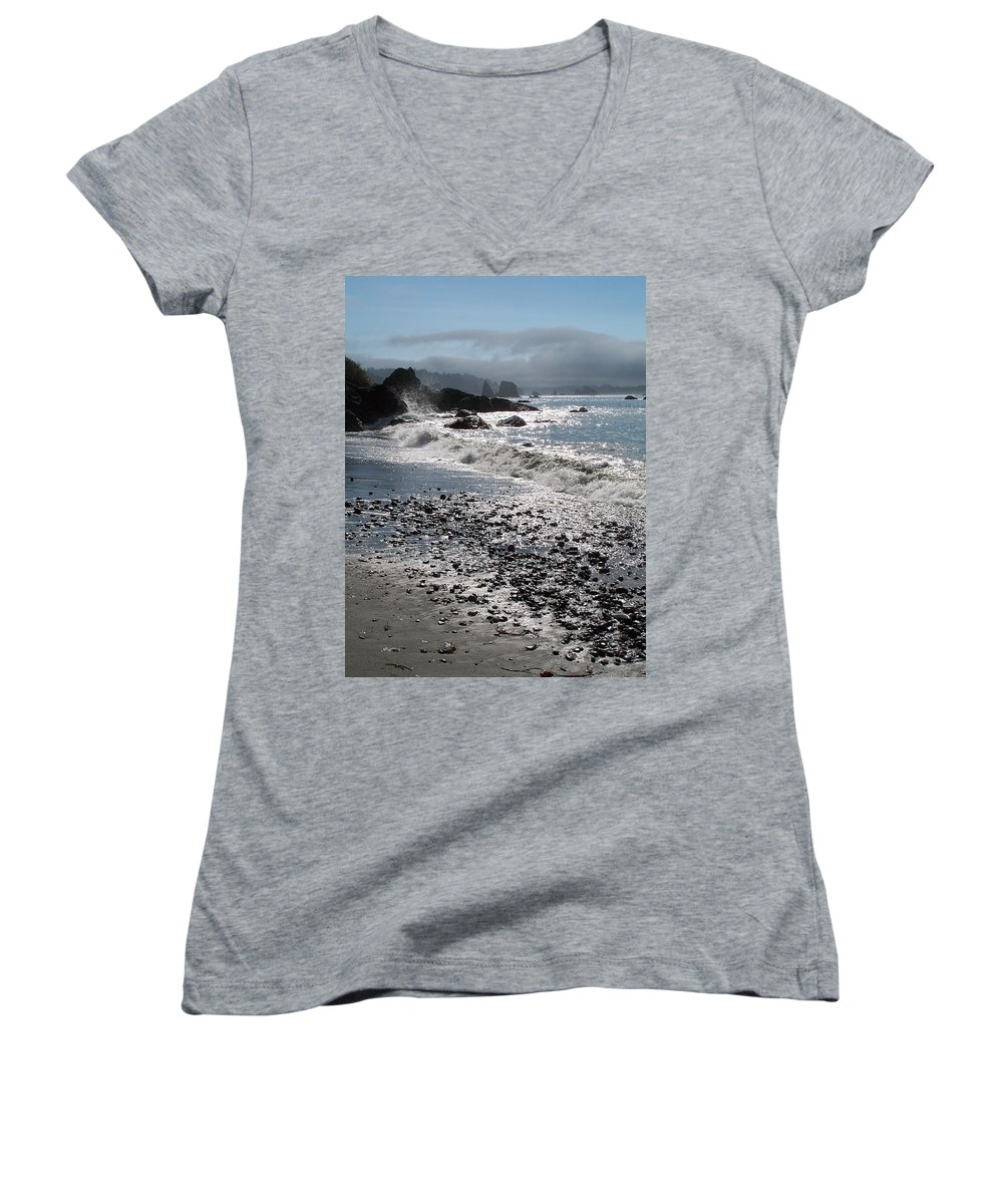 Ocean Women's V-Neck T-Shirt featuring the photograph Rocky Shores by Gale Cochran-Smith