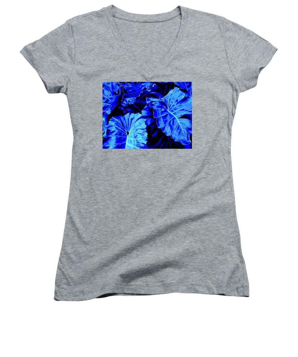 Blue Women's V-Neck T-Shirt featuring the photograph Romney Blue by Ian MacDonald