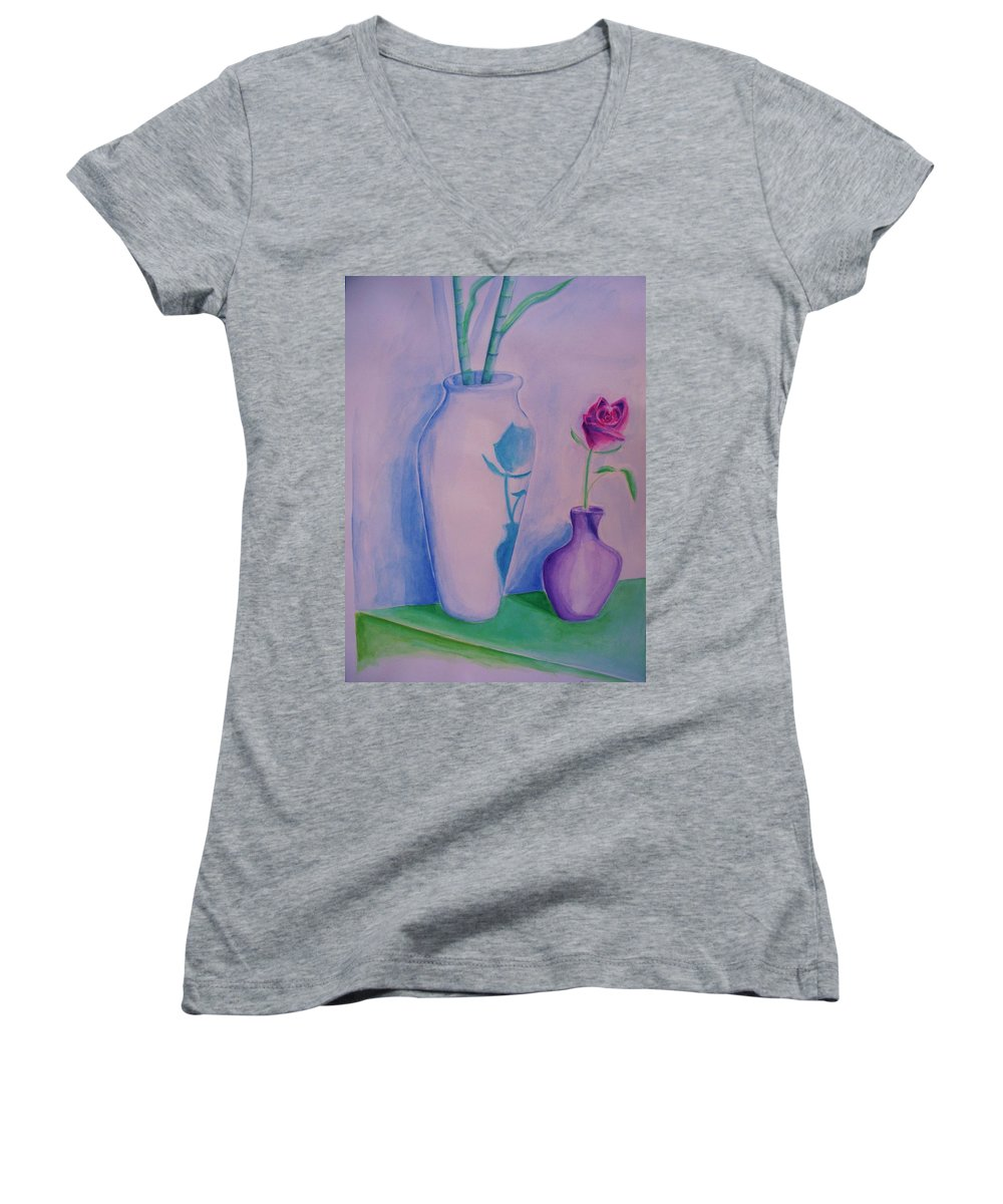 Red Rose Women's V-Neck T-Shirt featuring the painting Roses In Vase by Eric Schiabor