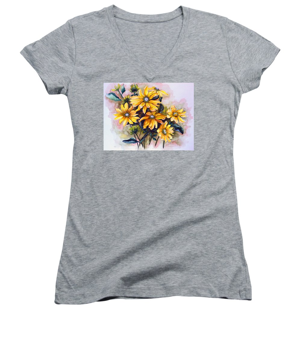 Flower Painting Sun Flower Painting Flower Botanical Painting  Original Watercolor Painting Rudebeckia Painting Floral Painting Yellow Painting Greeting Card Painting Women's V-Neck T-Shirt featuring the painting Rudbeckia Prairie Sun by Karin Dawn Kelshall- Best