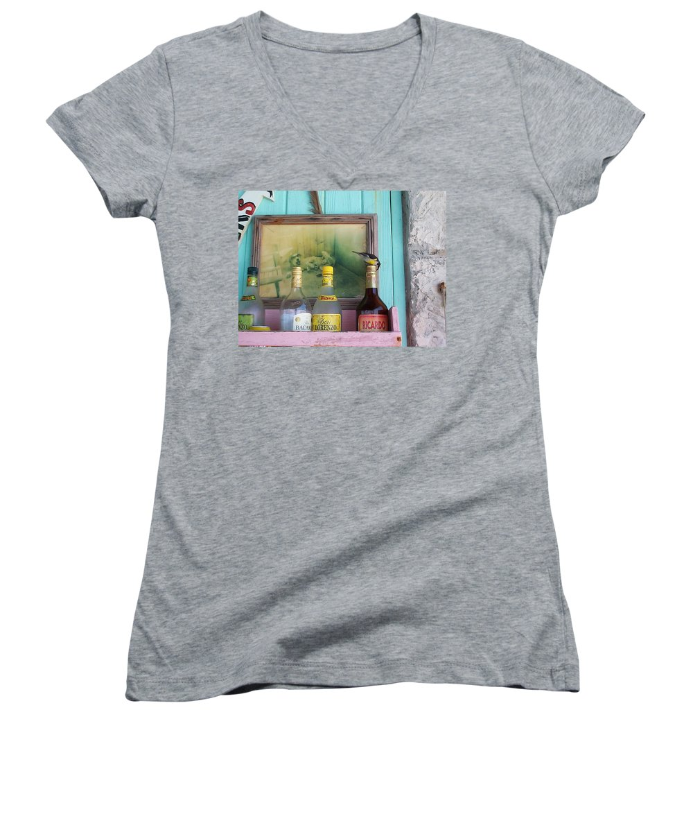 Charity Women's V-Neck T-Shirt featuring the photograph Rum Shack Bananaquit by Mary-Lee Sanders