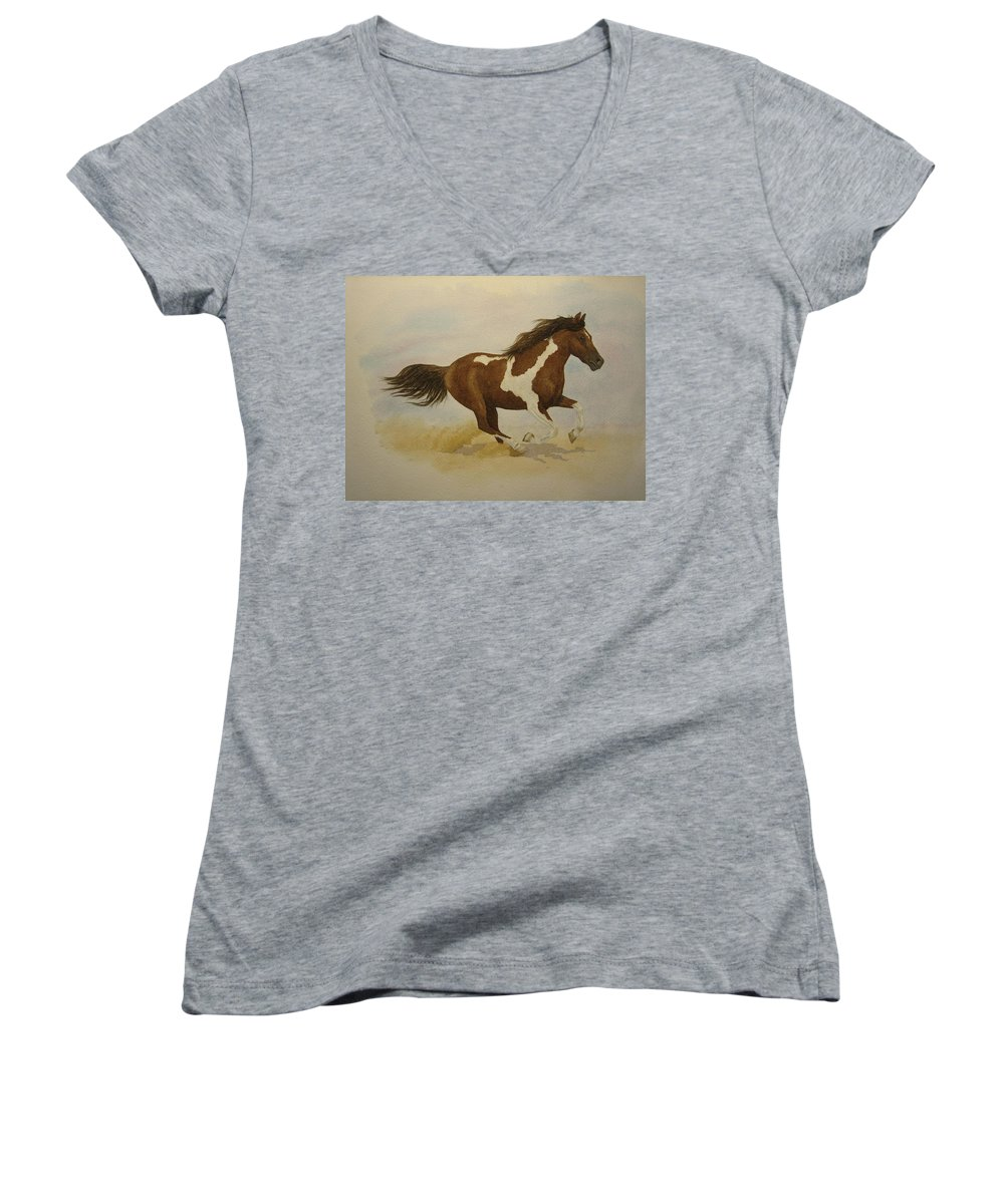 Paint Horse Women's V-Neck T-Shirt featuring the painting Running Paint by Jeff Lucas