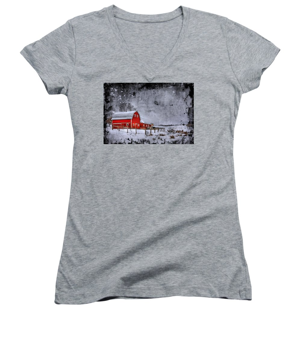Barn Women's V-Neck featuring the photograph Rural Textures by Evelina Kremsdorf
