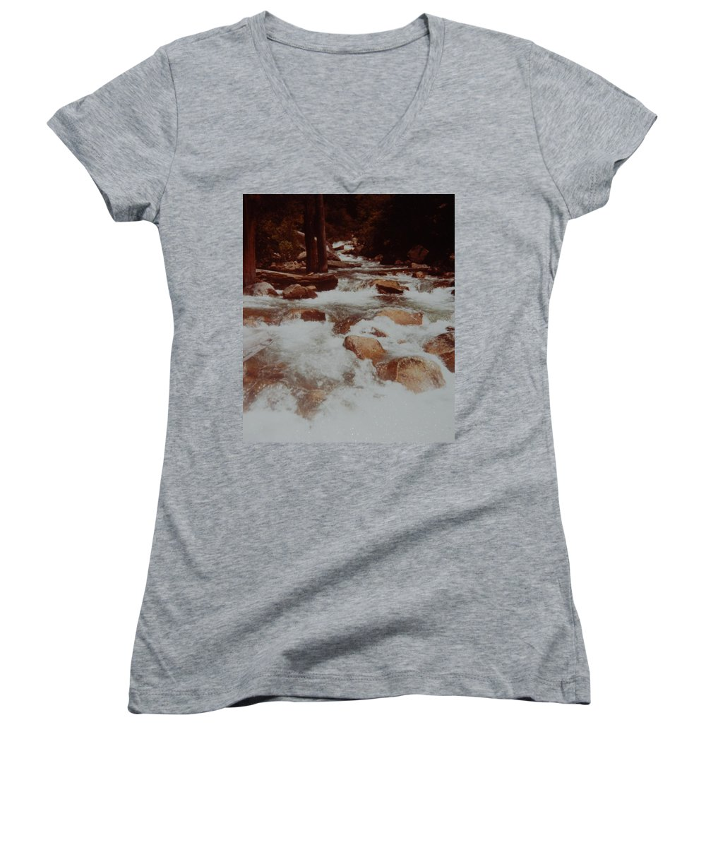 Water Women's V-Neck T-Shirt featuring the photograph Rushing Water by Rob Hans