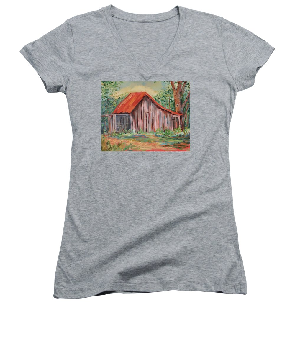Chicken Coops Women's V-Neck T-Shirt featuring the painting Russel Crow by Ginger Concepcion
