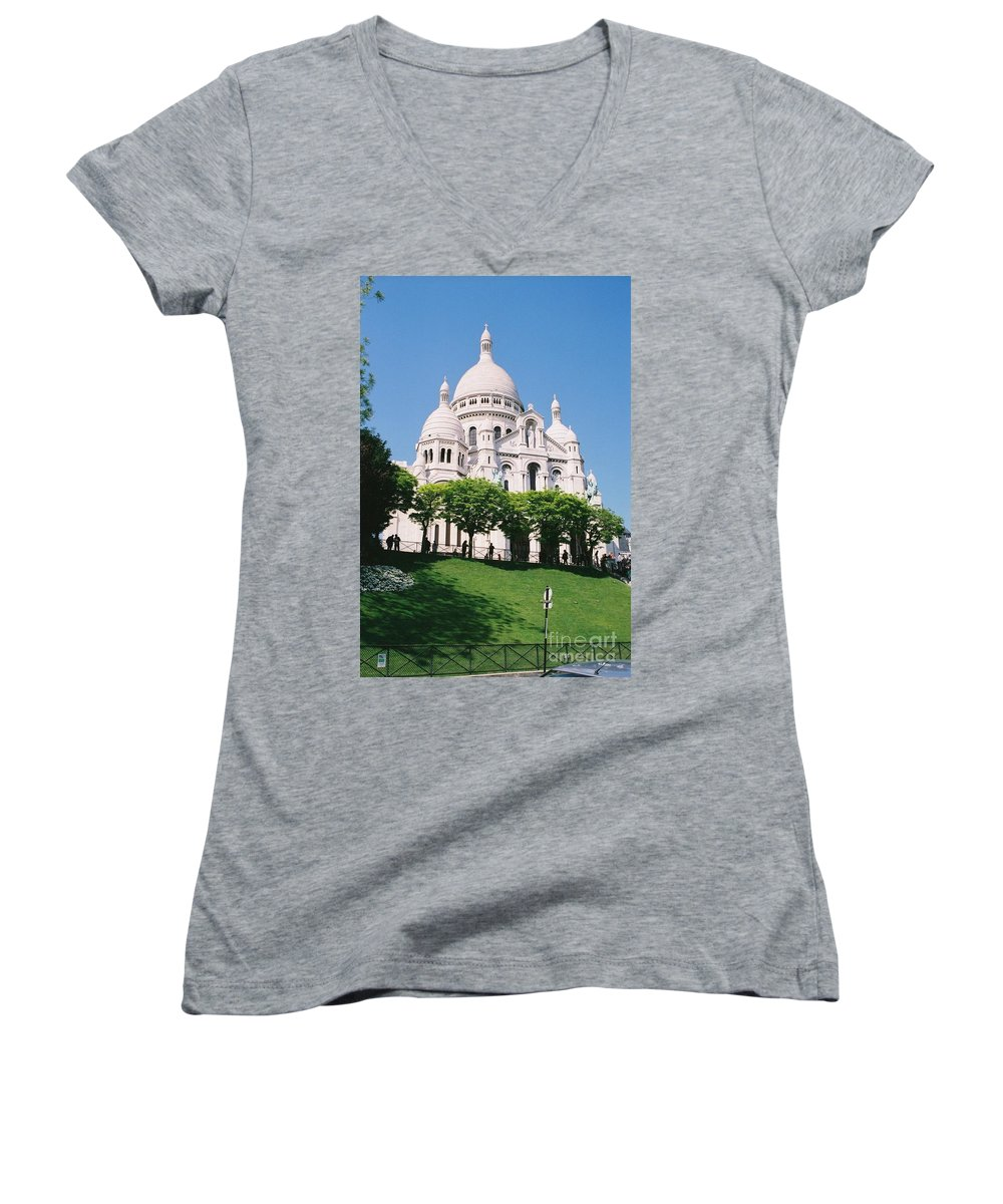 Church Women's V-Neck (Athletic Fit) featuring the photograph Sacre Coeur by Nadine Rippelmeyer