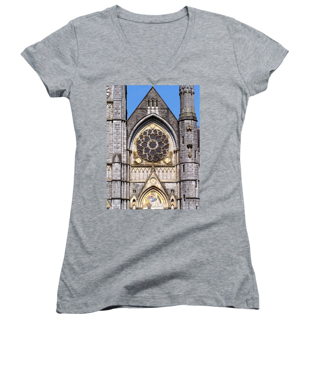 Ireland Women's V-Neck (Athletic Fit) featuring the photograph Sacred Heart Church Detail Roscommon Ireland by Teresa Mucha
