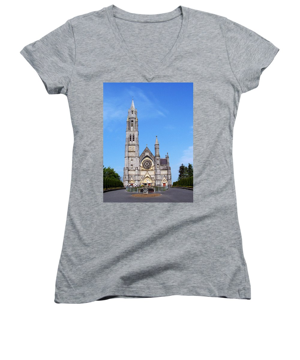 Ireland Women's V-Neck T-Shirt featuring the photograph Sacred Heart Church Roscommon Ireland by Teresa Mucha