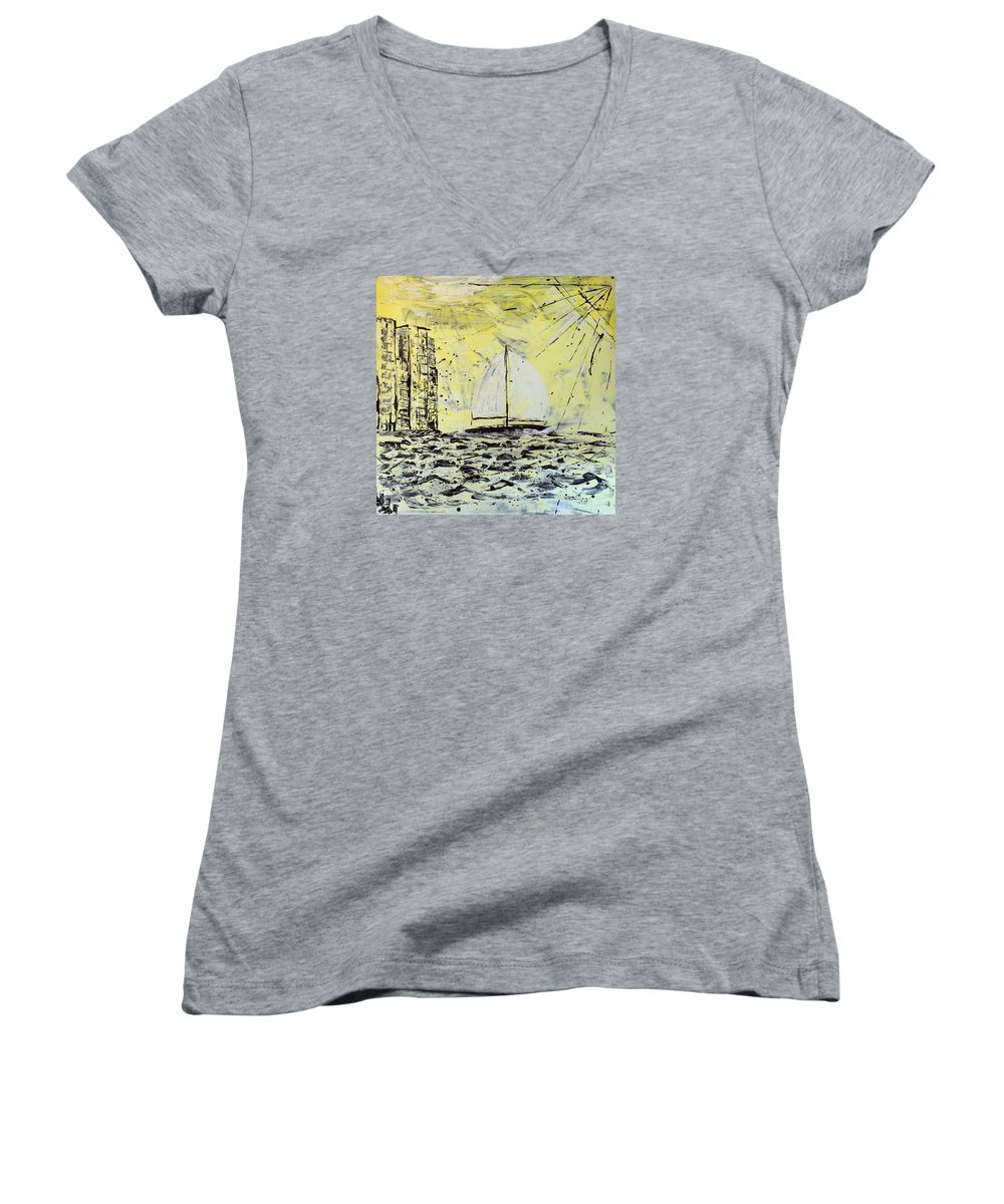 Sailboat With Sunray Women's V-Neck T-Shirt (Junior Cut) featuring the painting Sail And Sunrays by J R Seymour