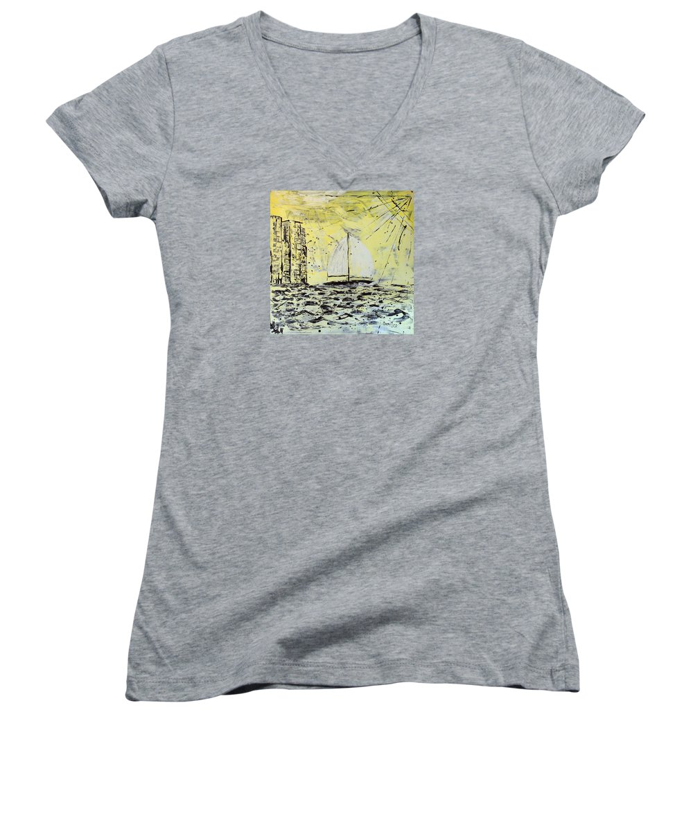 Abstract Women's V-Neck T-Shirt featuring the painting Sail And Sunrays by J R Seymour