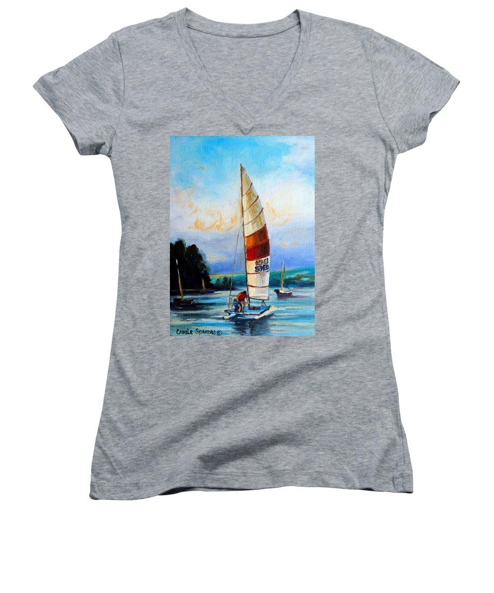 Sail Boats On The Lake Women's V-Neck (Athletic Fit) featuring the painting Sail Boats On The Lake by Carole Spandau