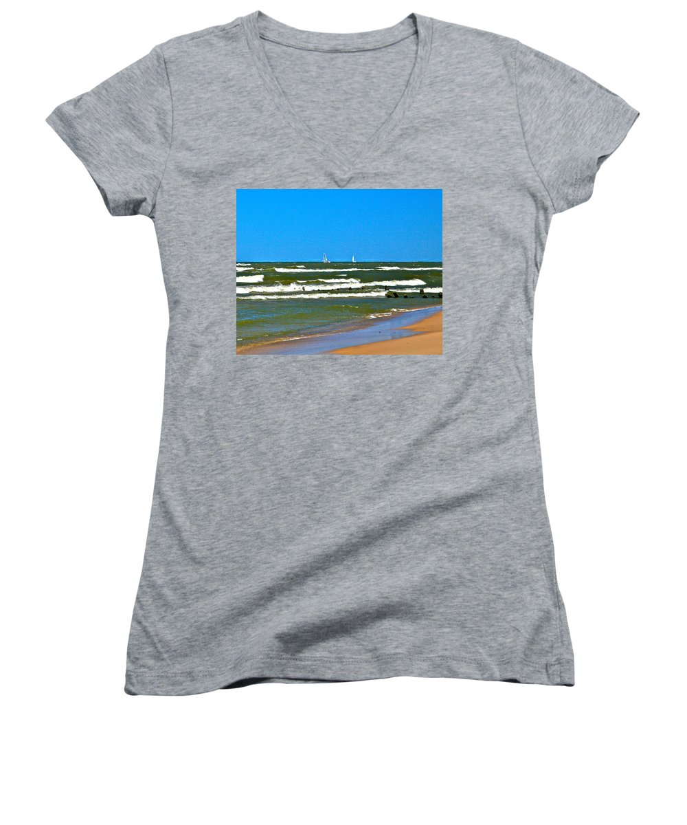 Water Women's V-Neck (Athletic Fit) featuring the photograph Sailing Away by Robert Pearson