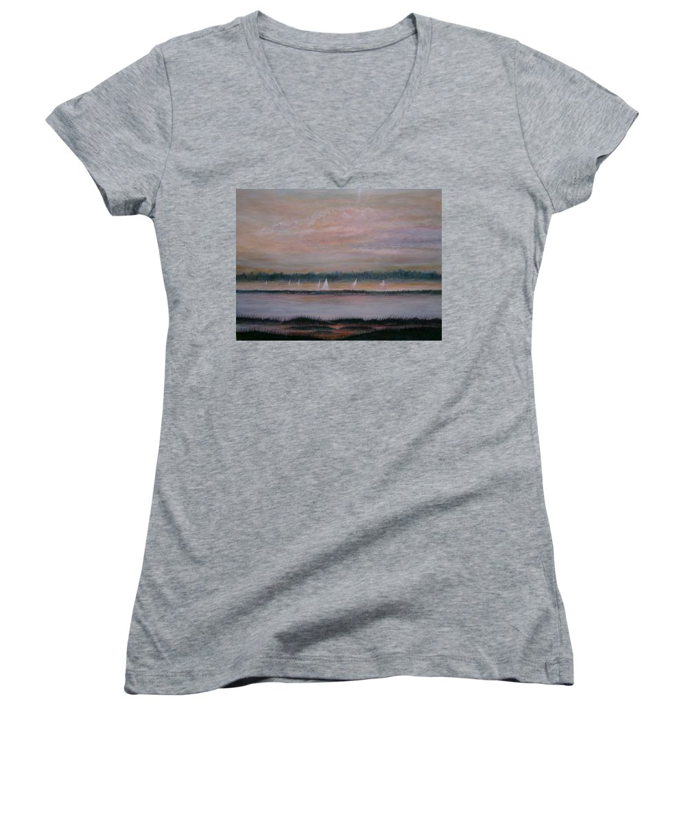 Sailboats; Marsh; Sunset Women's V-Neck T-Shirt featuring the painting Sails In The Sunset by Ben Kiger