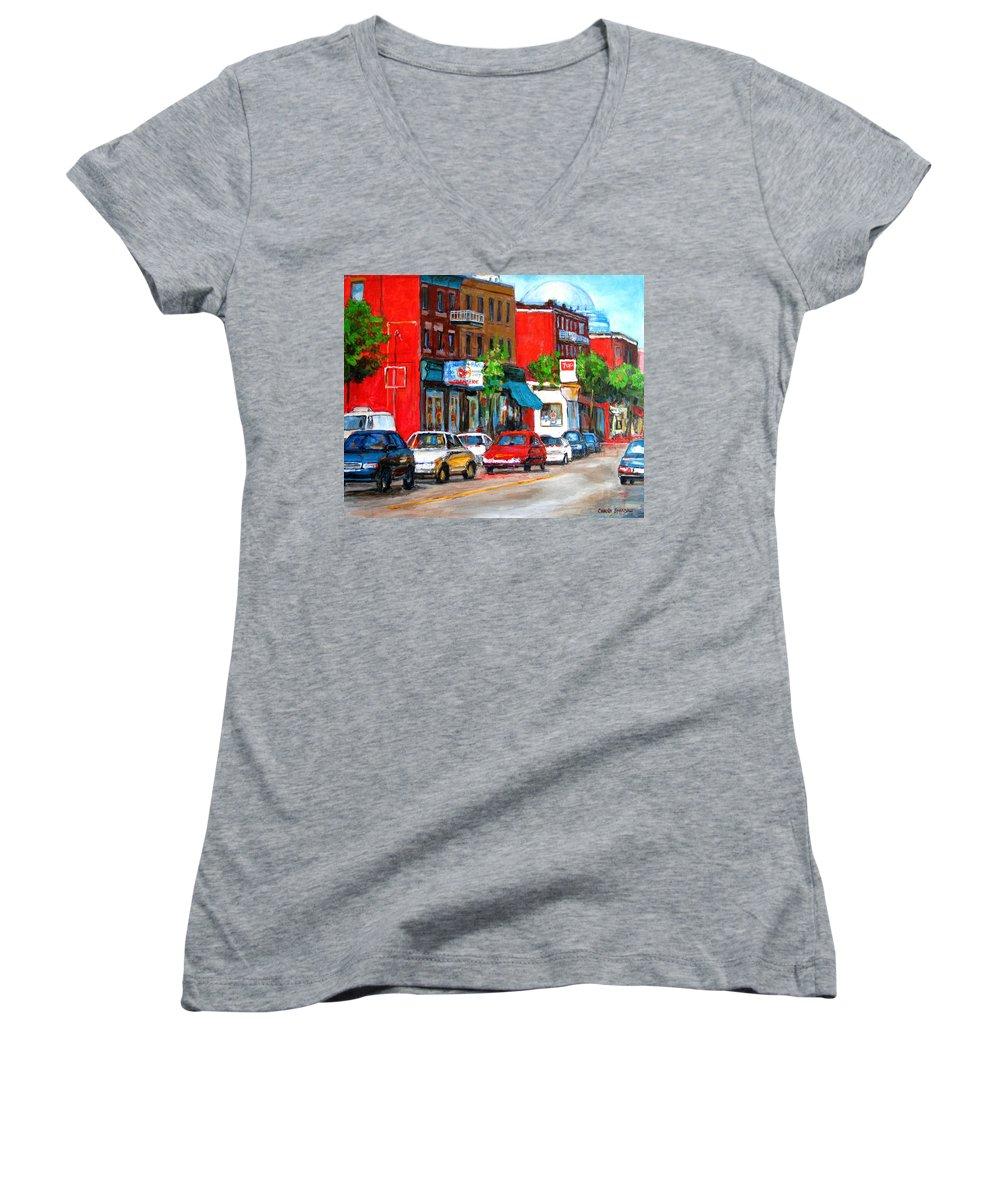 St.viateur Bagel Women's V-Neck T-Shirt featuring the painting Saint Viateur Street by Carole Spandau