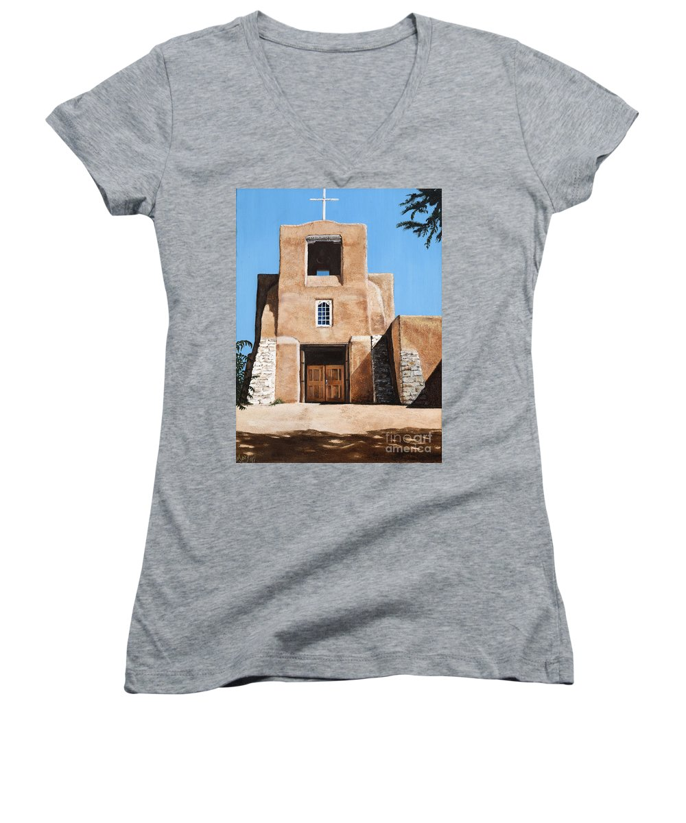 Art Women's V-Neck (Athletic Fit) featuring the painting San Miguel by Mary Rogers