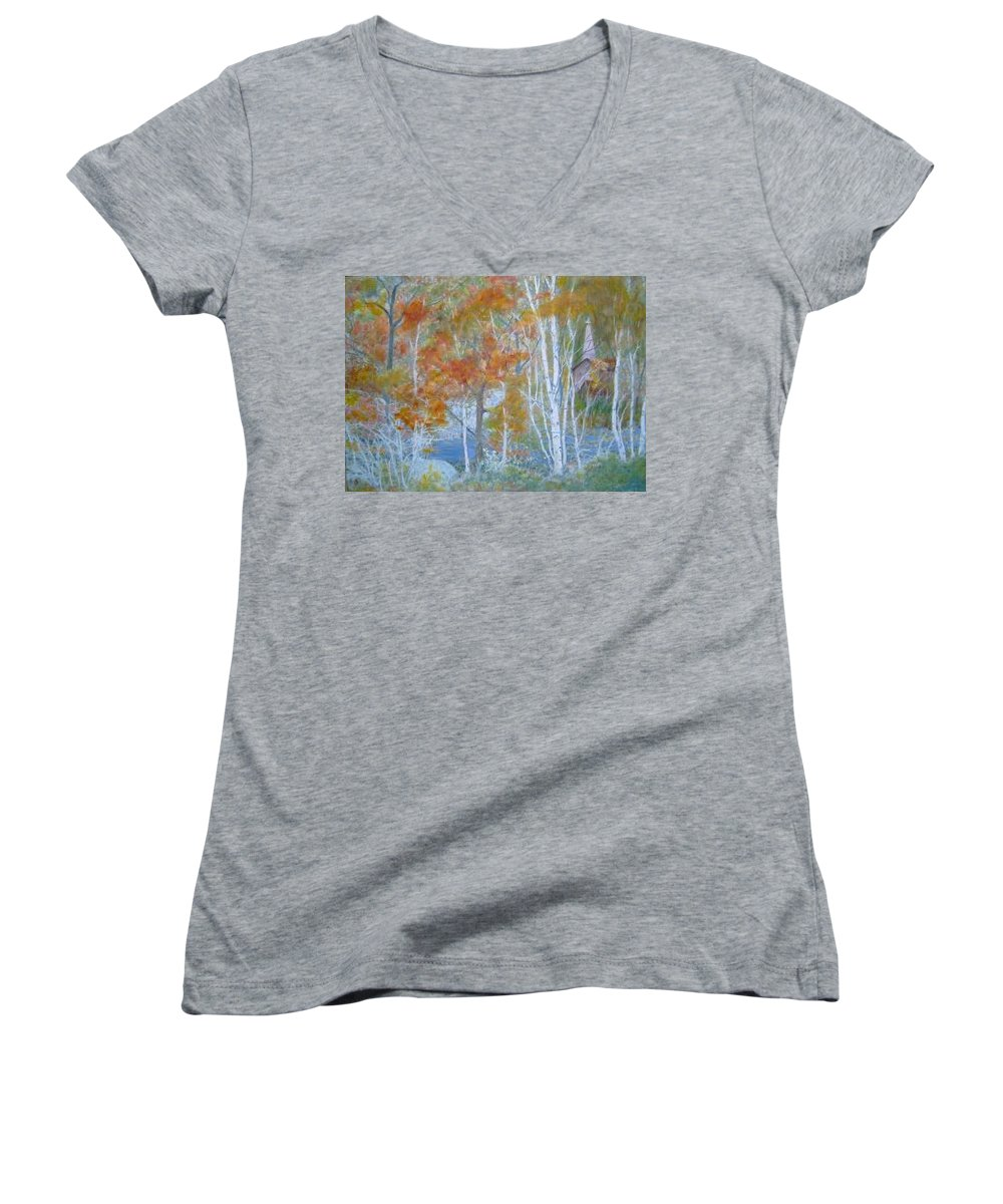 Church; Landscape; Birch Trees Women's V-Neck T-Shirt featuring the painting Sanctuary by Ben Kiger