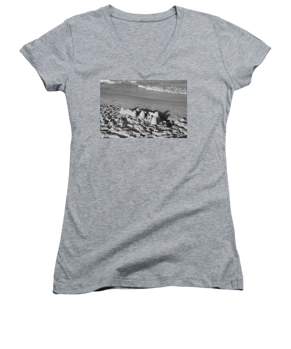 Sea Scape Women's V-Neck T-Shirt featuring the photograph Sand Castles By The Shore by Rob Hans