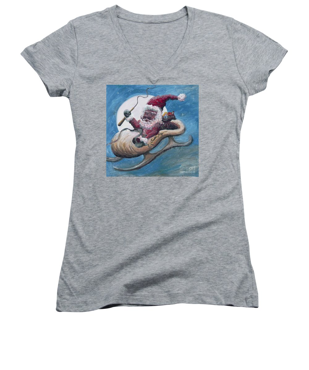 Christmas Women's V-Neck (Athletic Fit) featuring the painting Santa Hog by Nadine Rippelmeyer