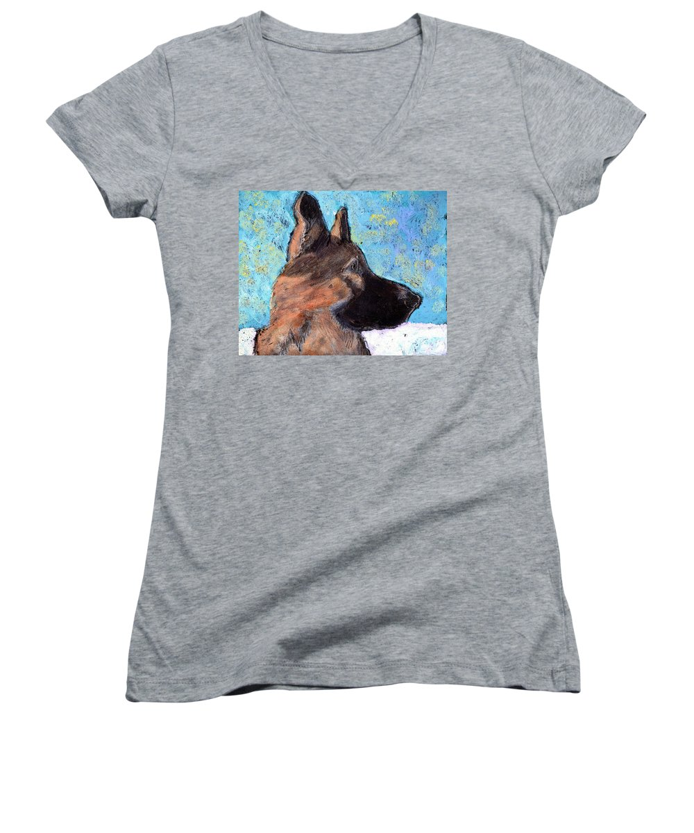 Dog Women's V-Neck (Athletic Fit) featuring the painting Sarge II by Wayne Potrafka