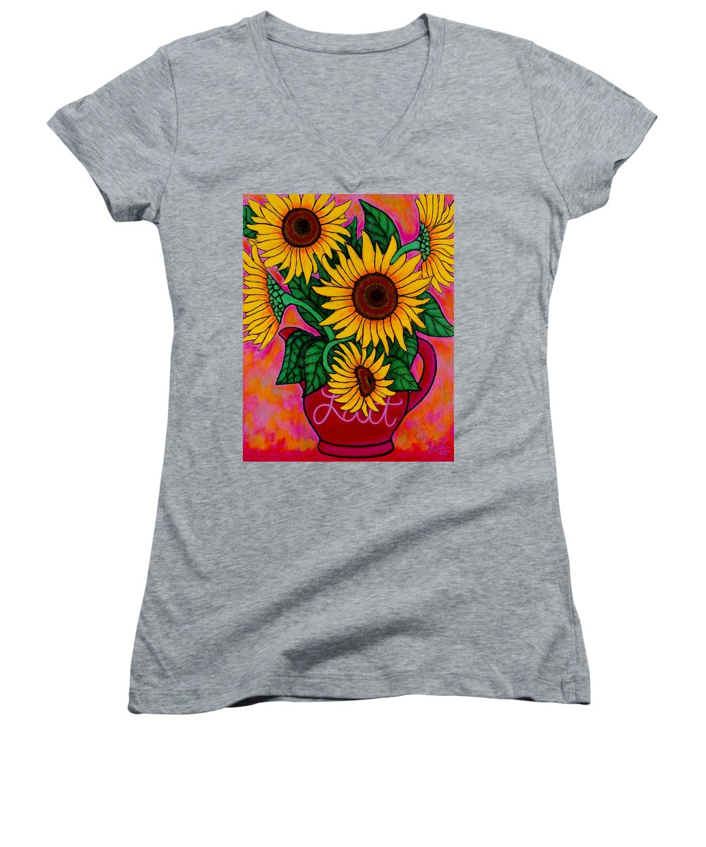 Sunflowers Women's V-Neck T-Shirt featuring the painting Saturday Morning Sunflowers by Lisa Lorenz
