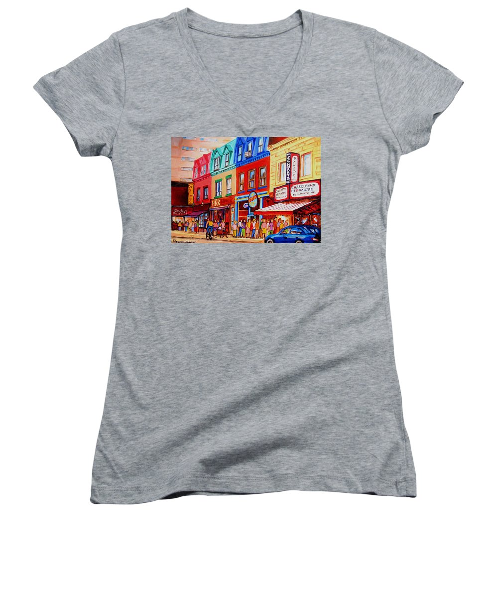 Cityscape Women's V-Neck T-Shirt featuring the painting Schwartz Lineup With Simcha by Carole Spandau