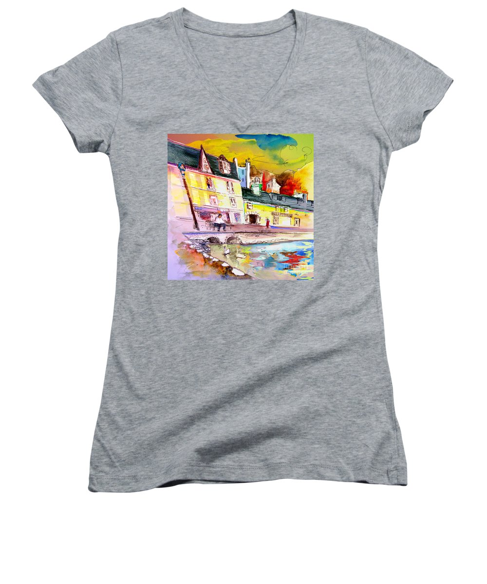 Scotland Paintings Women's V-Neck T-Shirt featuring the painting Scotland 04 by Miki De Goodaboom