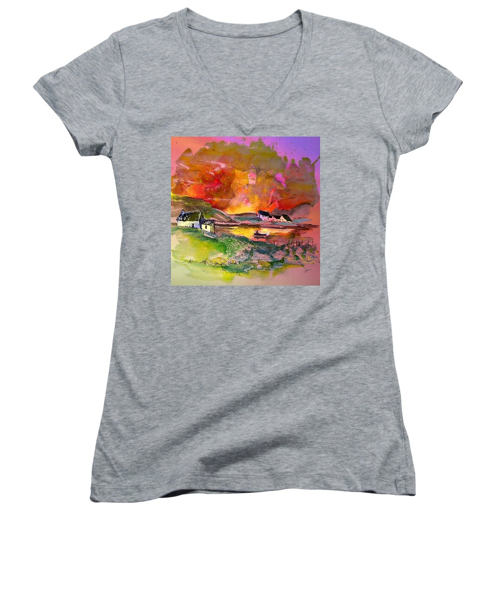 Scotland Paintings Women's V-Neck T-Shirt featuring the painting Scotland 07 by Miki De Goodaboom