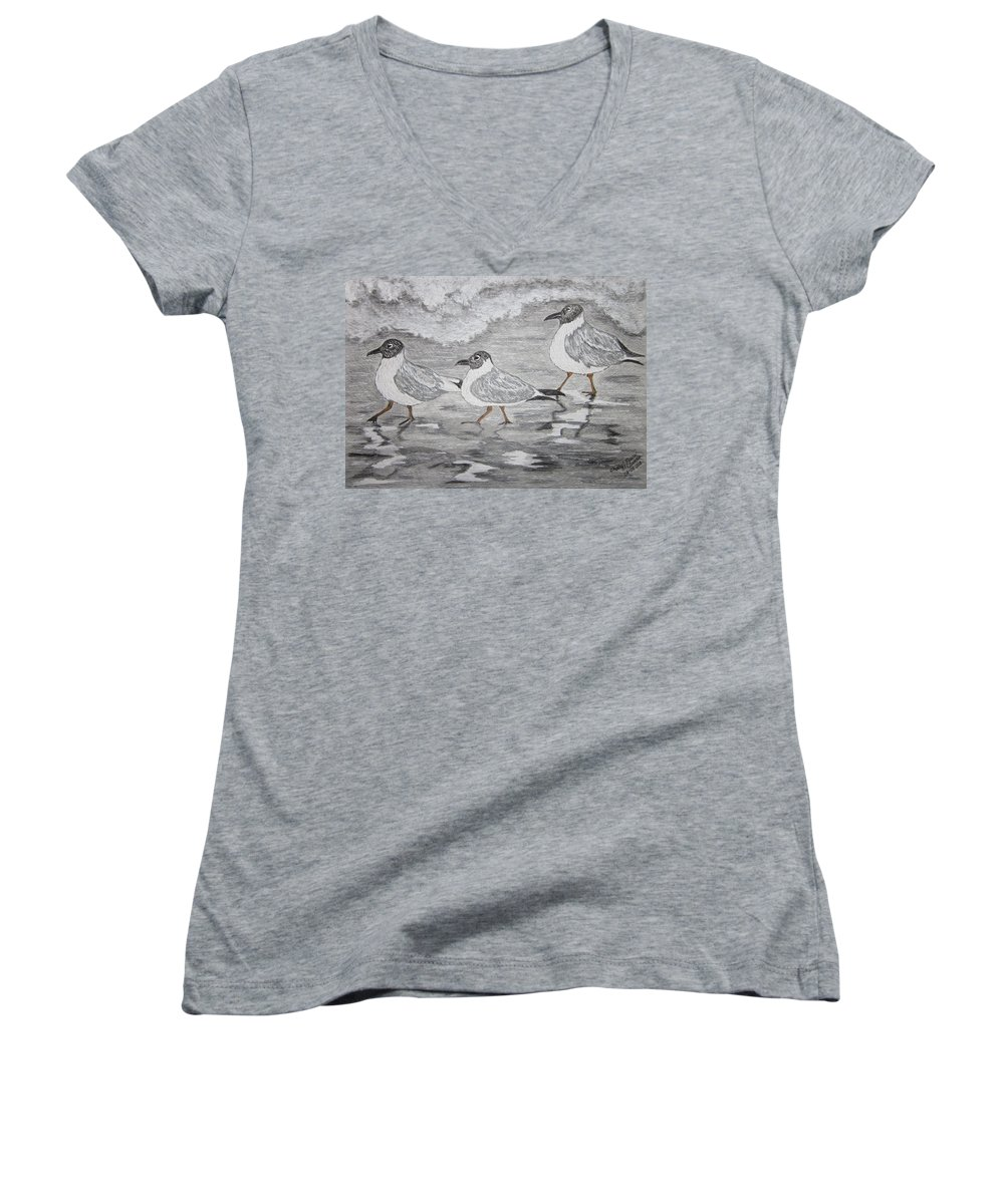 Sea Gulls Women's V-Neck (Athletic Fit) featuring the painting Sea Gulls Dodging The Ocean Waves by Kathy Marrs Chandler