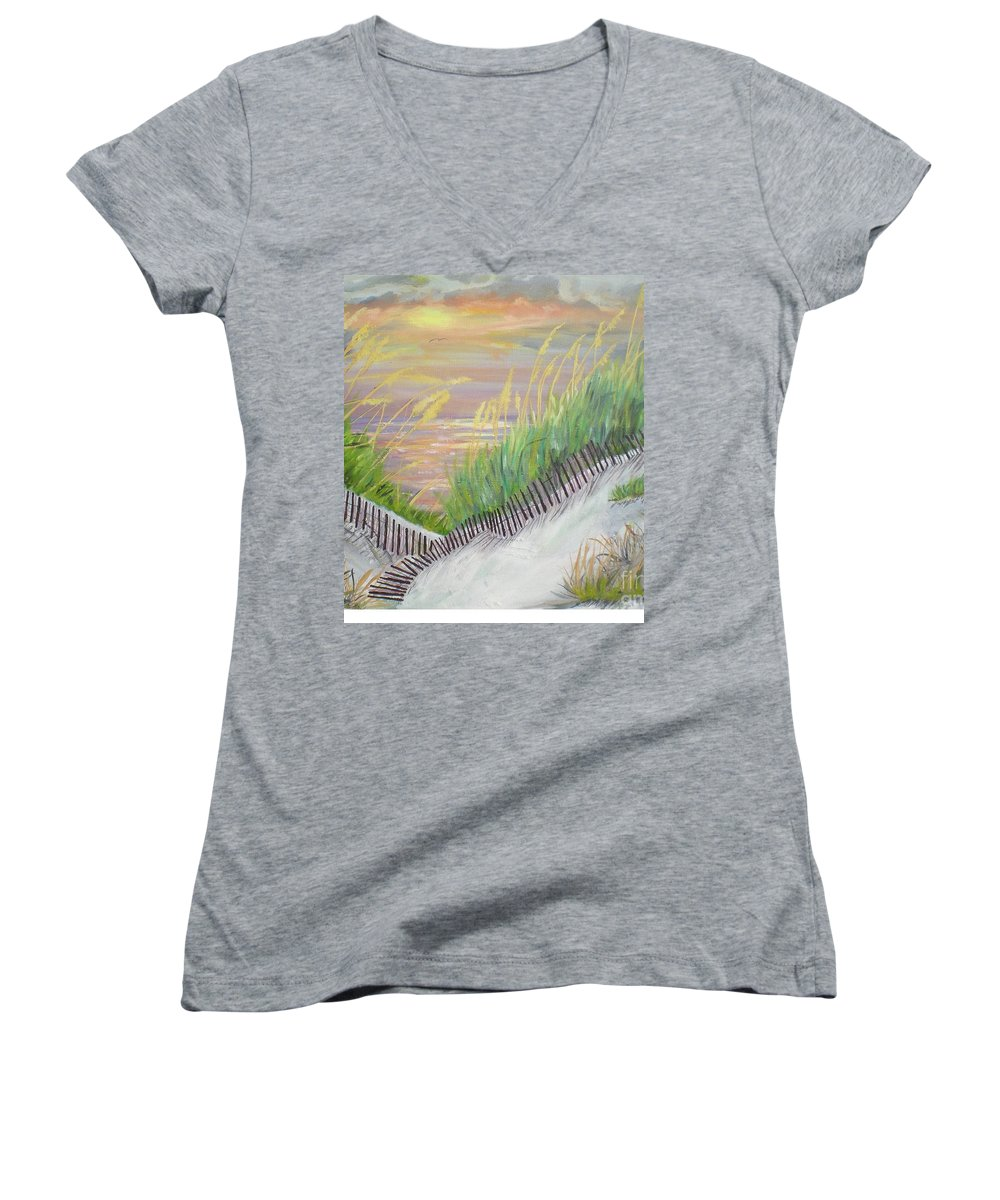 Seascape Women's V-Neck (Athletic Fit) featuring the painting Sea Oats by Hal Newhouser