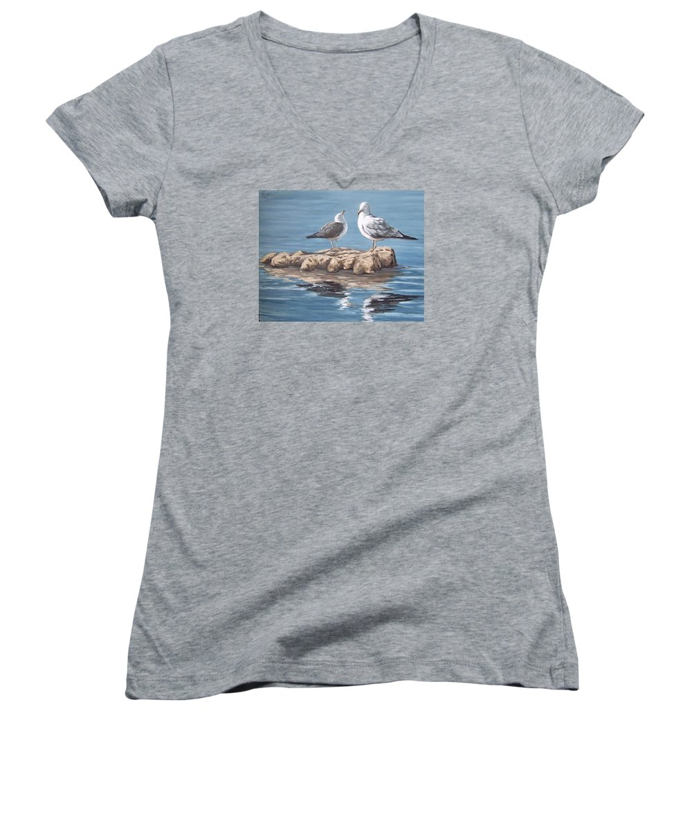 Seagulls Sea Seascape Water Bird Women's V-Neck T-Shirt featuring the painting Seagulls In The Sea by Natalia Tejera