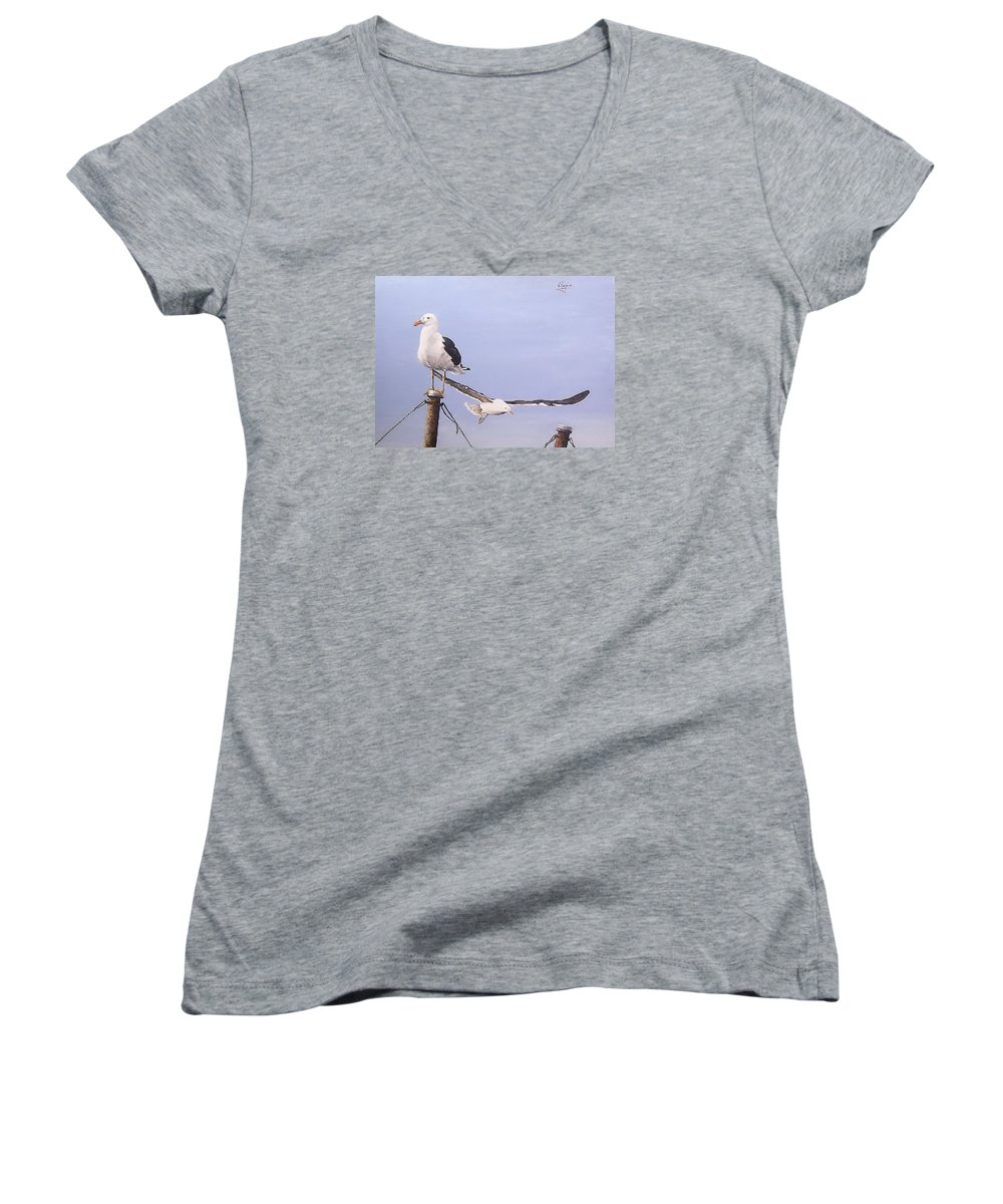 Seascape Gulls Bird Sea Women's V-Neck (Athletic Fit) featuring the painting Seagulls by Natalia Tejera