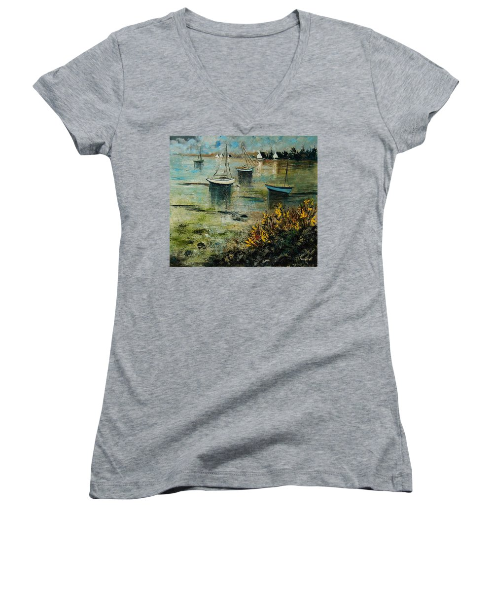 Seascape Women's V-Neck (Athletic Fit) featuring the print Seascape 78 by Pol Ledent