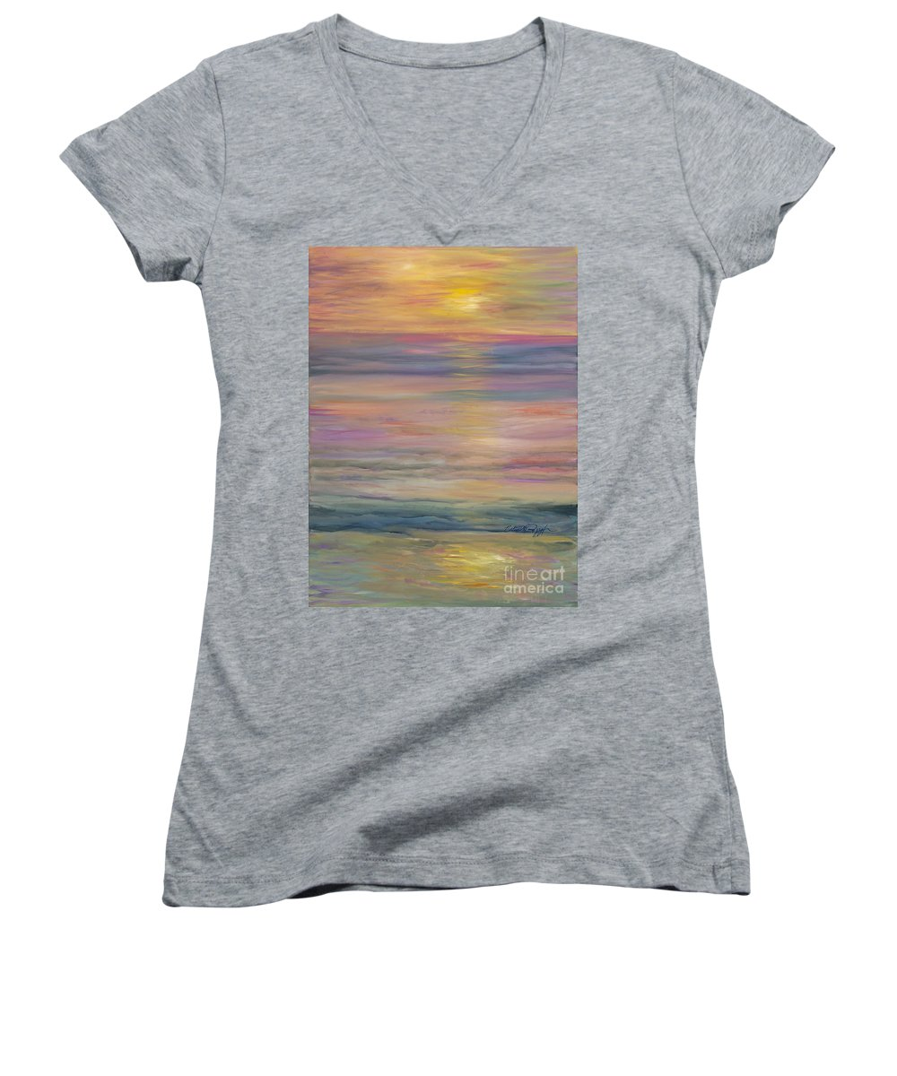 Sea Women's V-Neck T-Shirt featuring the painting Seascape by Nadine Rippelmeyer