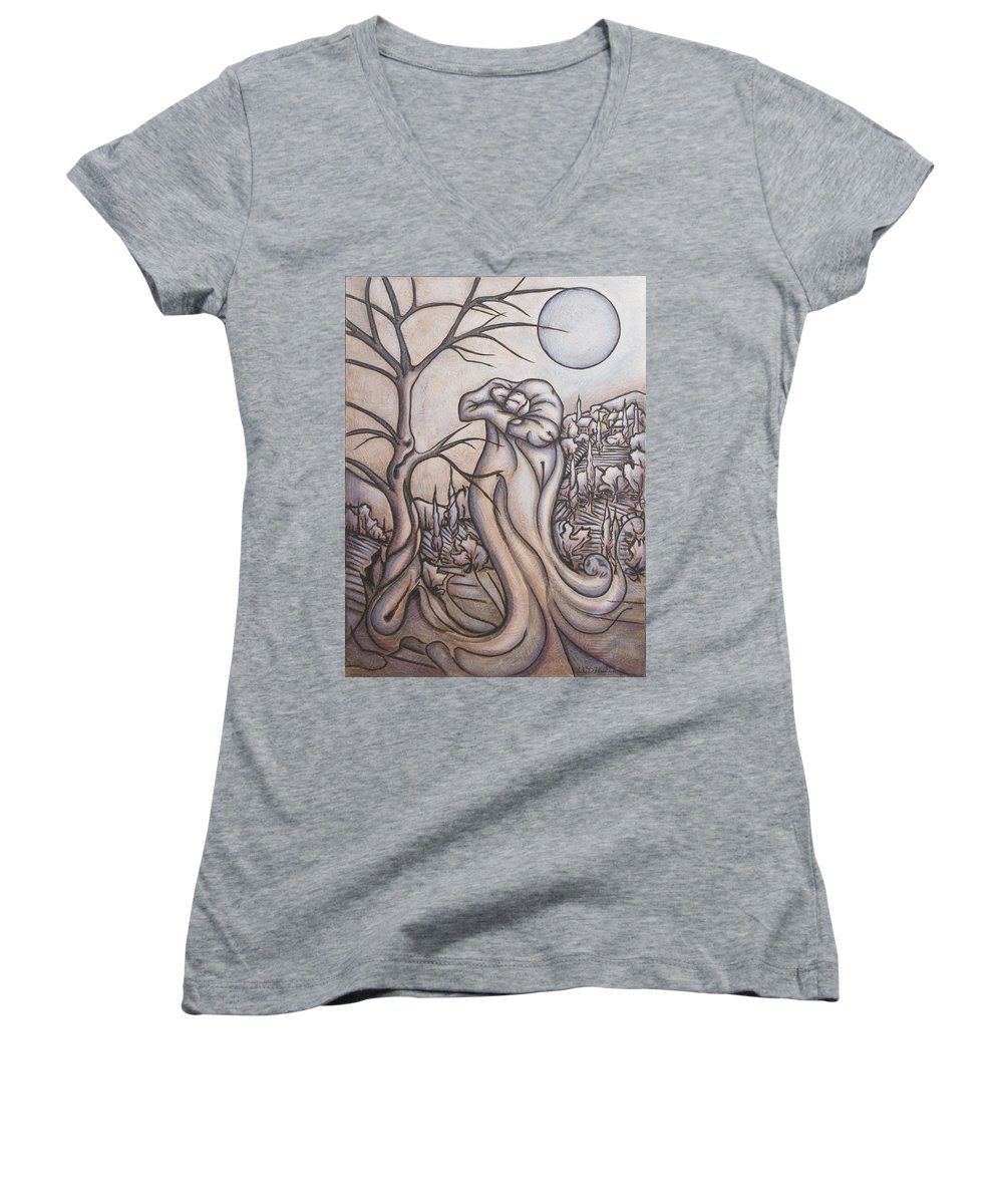 Dream. Moon Women's V-Neck (Athletic Fit) featuring the painting Secrets And Dreams by Judy Henninger