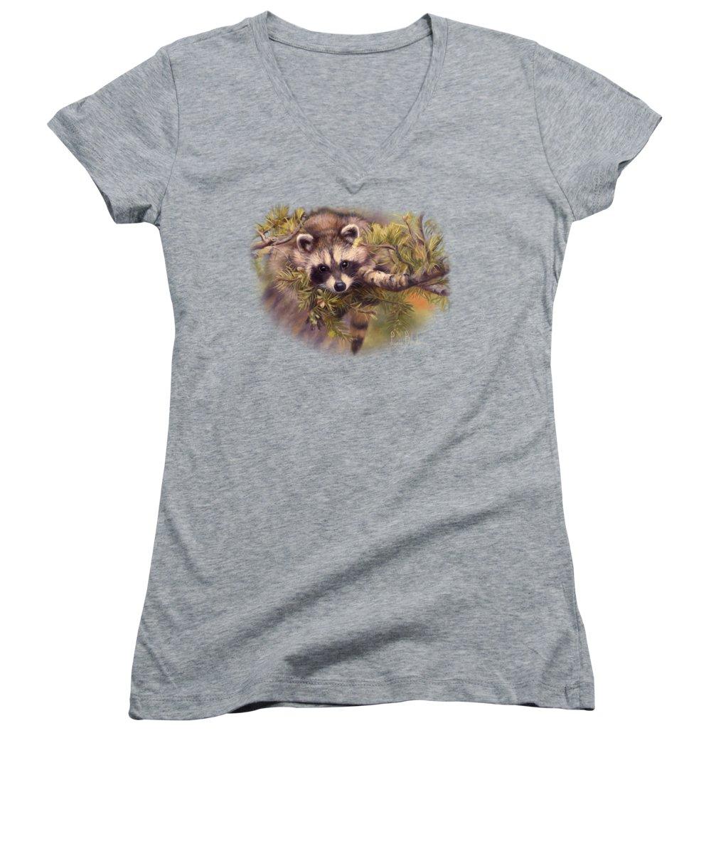 Raccoon Women's V-Neck T-Shirts