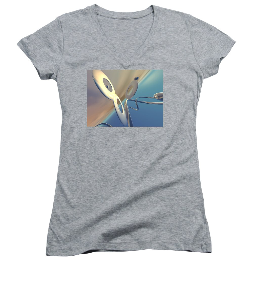 Scott Piers Women's V-Neck T-Shirt featuring the painting Sense Of Well-being by Scott Piers