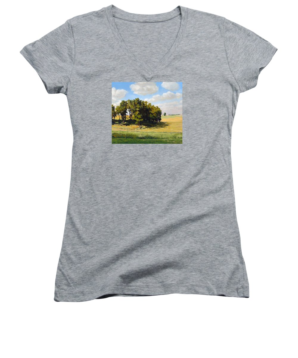 Landscape Women's V-Neck (Athletic Fit) featuring the painting September Summer by Bruce Morrison