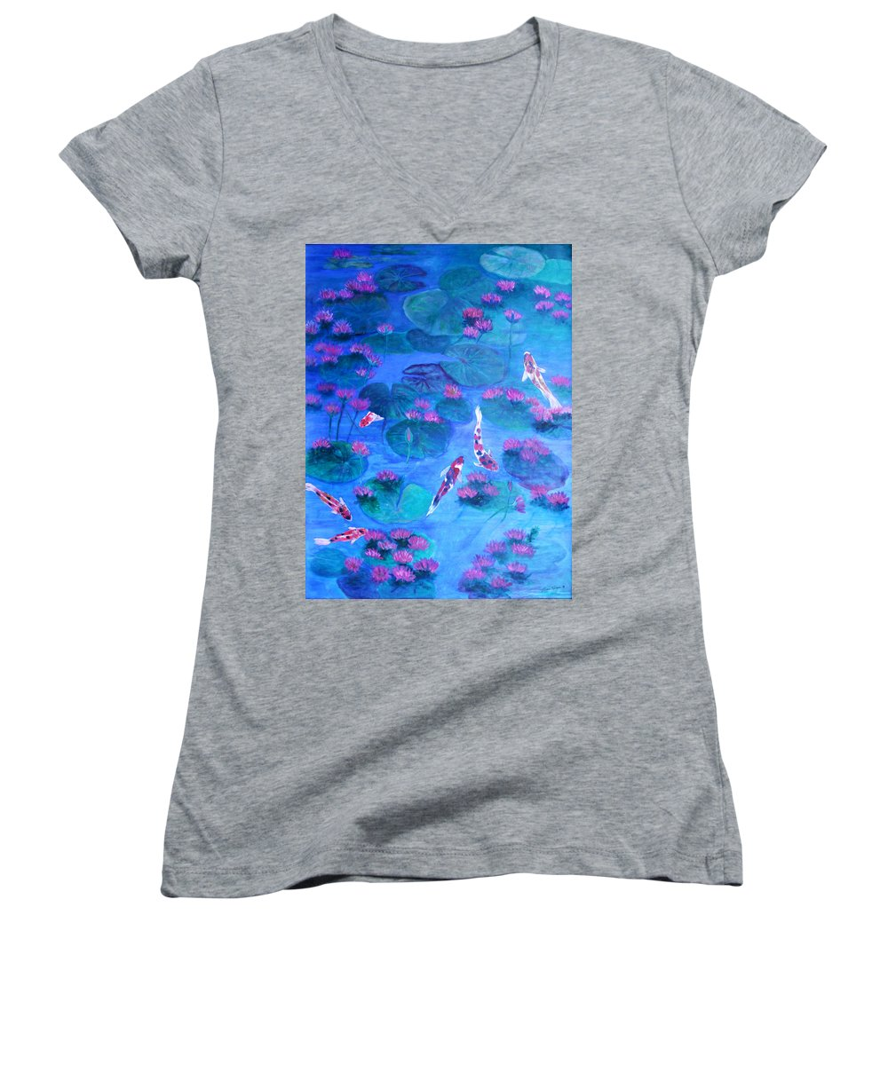 Lily Pads Women's V-Neck T-Shirt featuring the painting Serene Pond by Ben Kiger