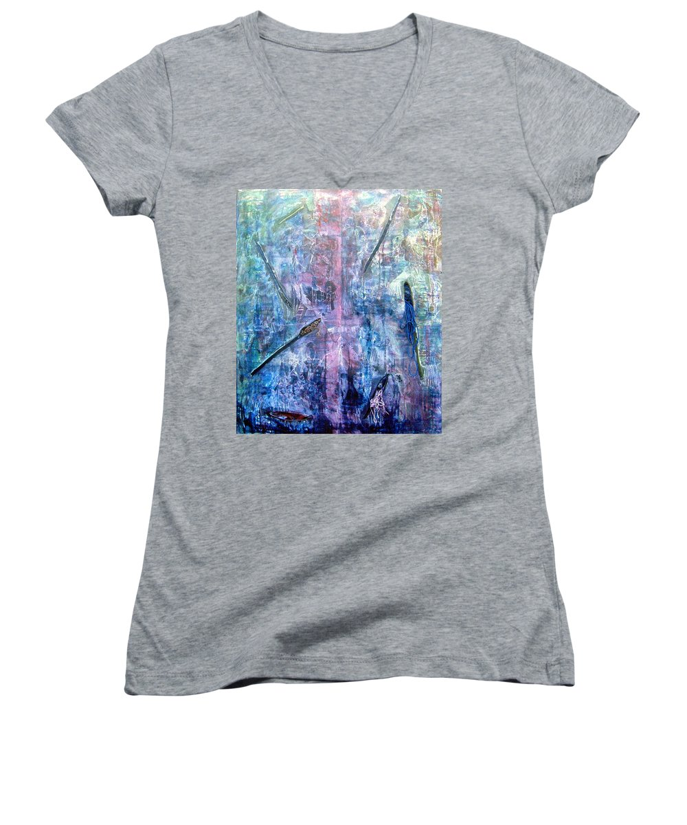Abstract Women's V-Neck T-Shirt featuring the painting Seven Zippers by Nancy Mueller