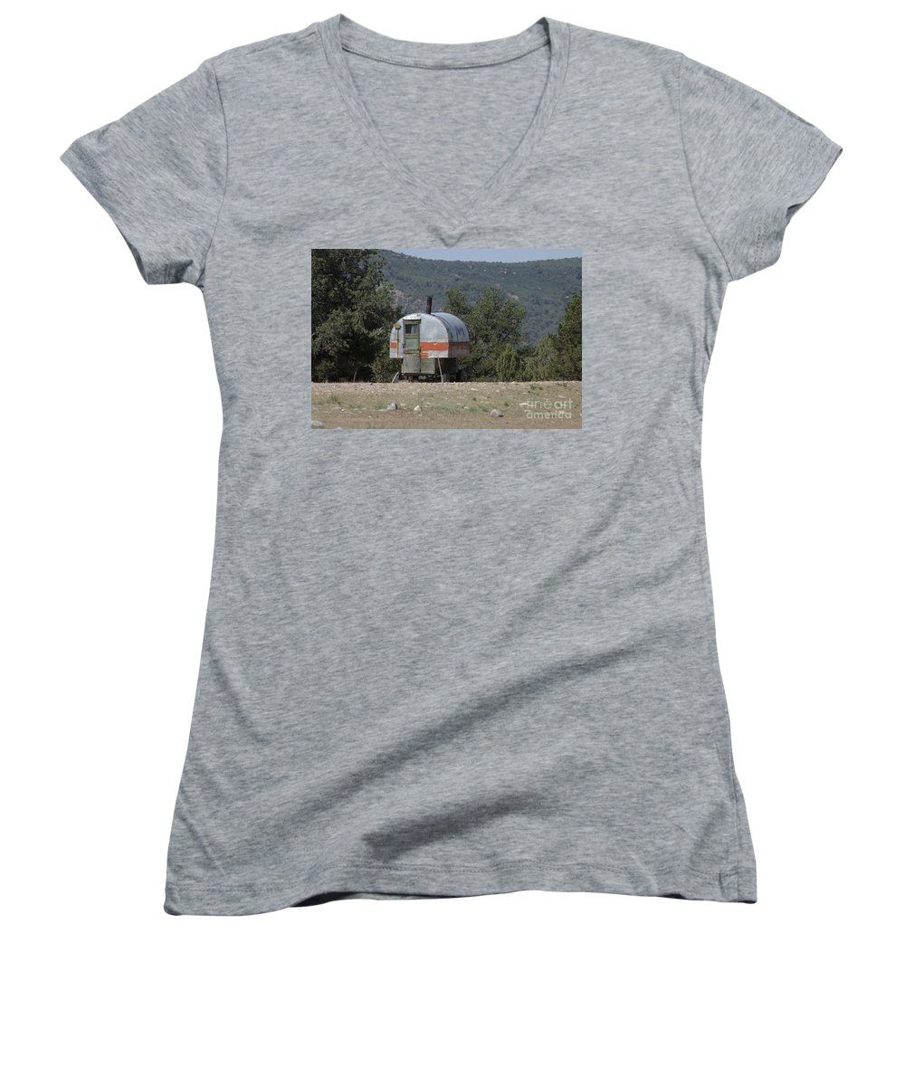 Sheep Women's V-Neck T-Shirt featuring the photograph Sheep Herder's Wagon by Jerry McElroy