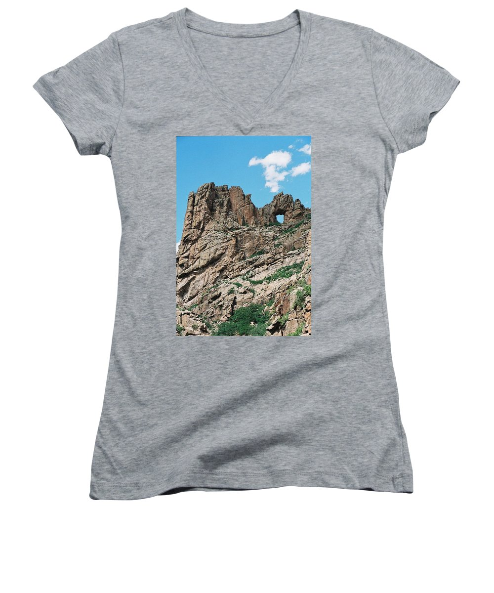 Shelf Road Women's V-Neck T-Shirt featuring the photograph Shelf Road Rock Formations by Anita Burgermeister