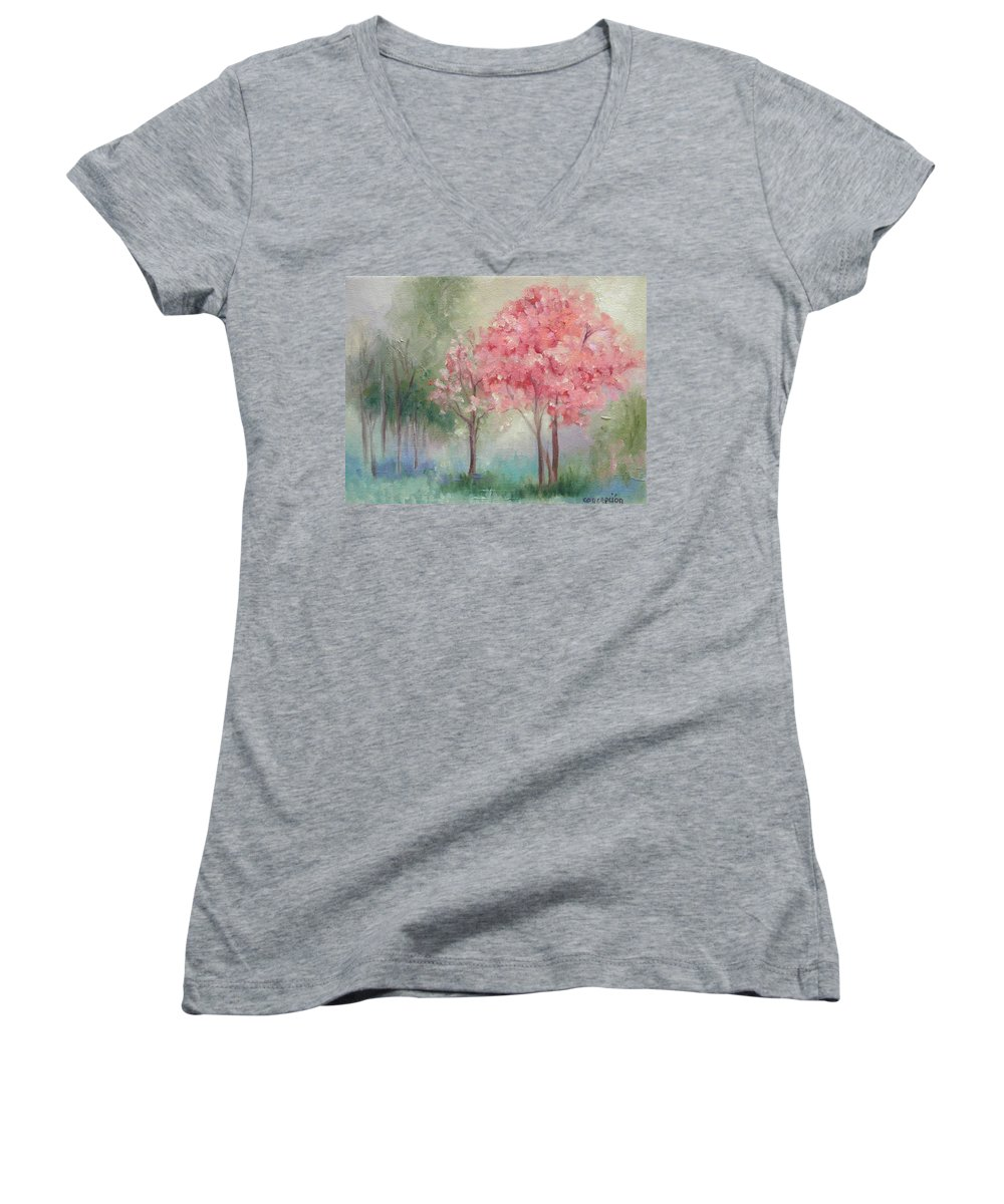 Spring Women's V-Neck T-Shirt featuring the painting Sign Of Spring by Ginger Concepcion