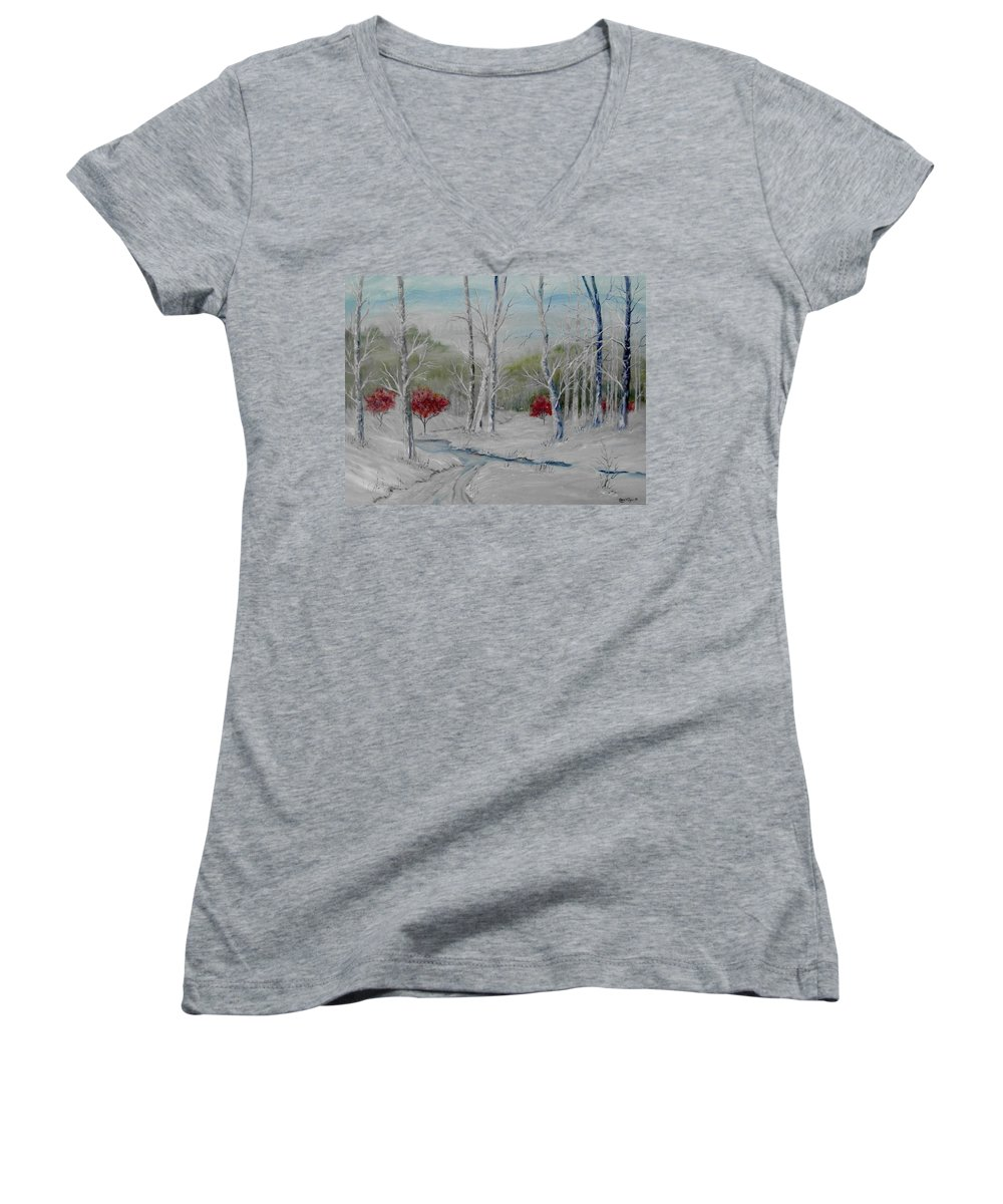 Snow; Winter; Birch Trees Women's V-Neck T-Shirt featuring the painting Silence by Ben Kiger