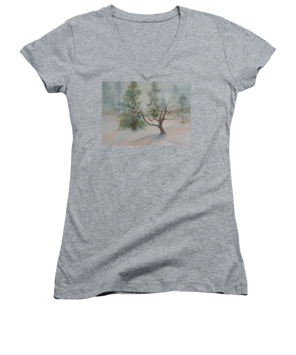 Snow Women's V-Neck T-Shirt featuring the painting Silence by Ruth Kamenev