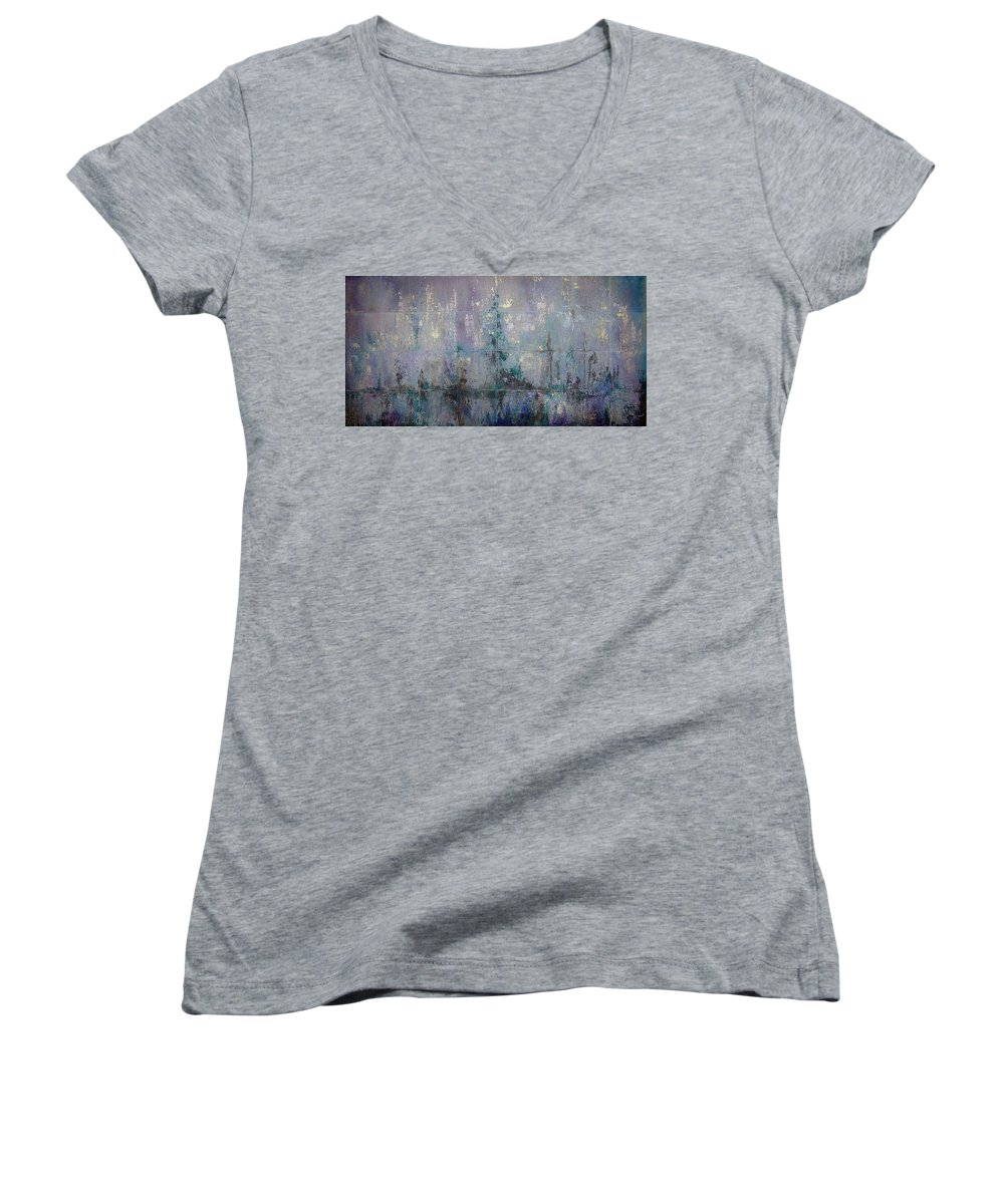 Abstract Women's V-Neck (Athletic Fit) featuring the painting Silver And Silent by Shadia Derbyshire