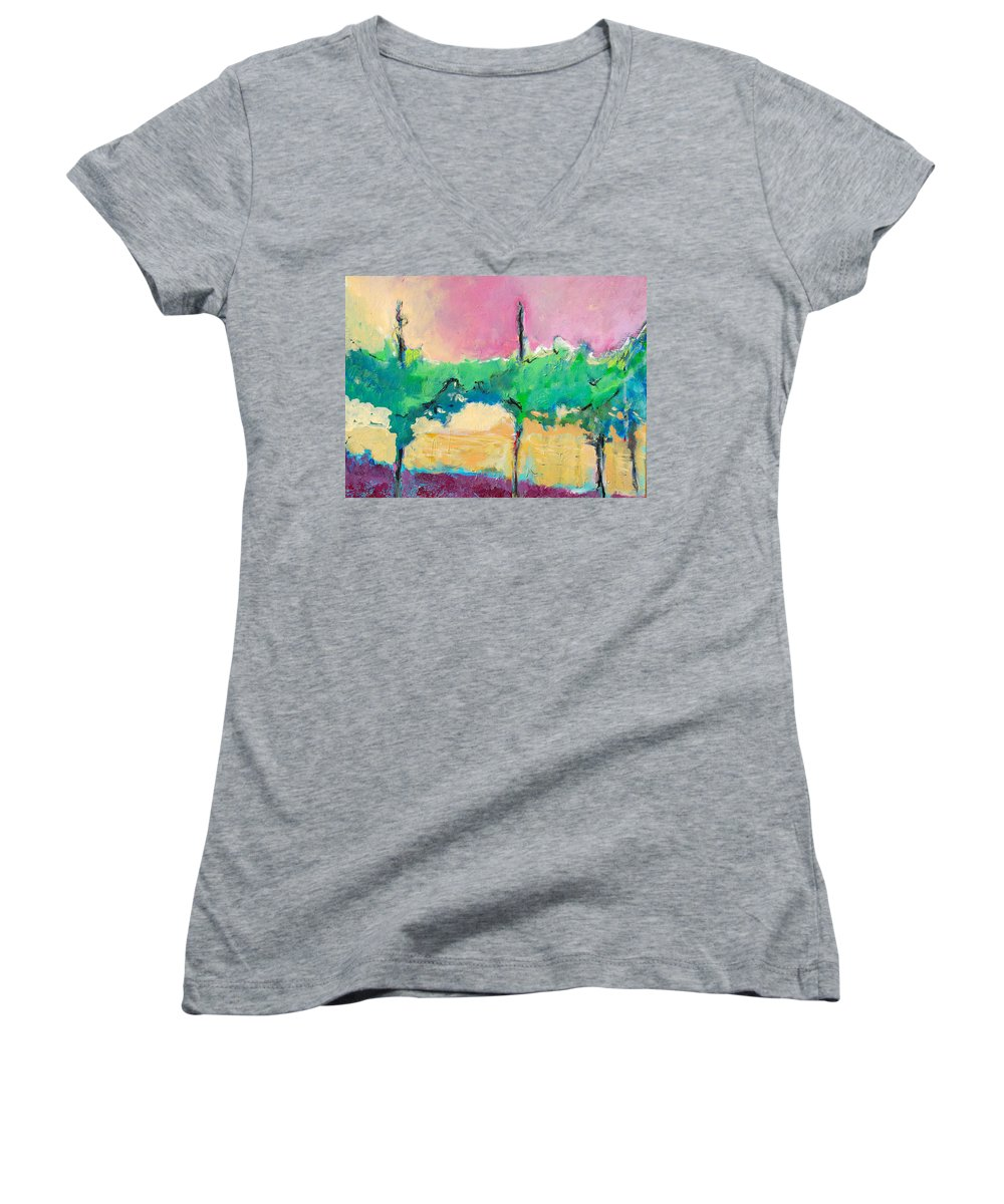 Vineyard Women's V-Neck (Athletic Fit) featuring the painting Simpatico by Kurt Hausmann
