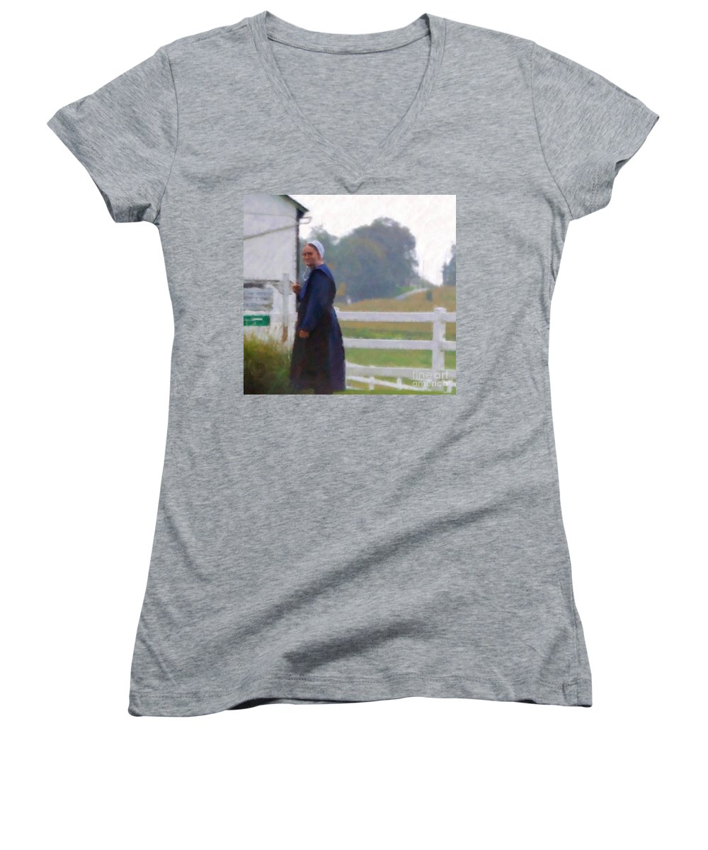 Amish Women's V-Neck T-Shirt featuring the photograph Simple Living by Debbi Granruth