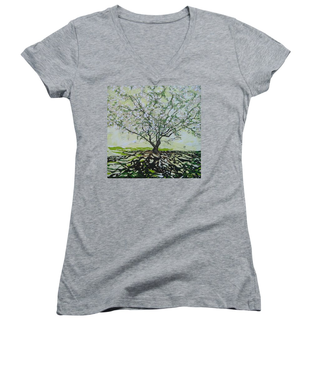 Apple Tree Women's V-Neck T-Shirt featuring the painting Sincerely-the Curator by Leah Tomaino