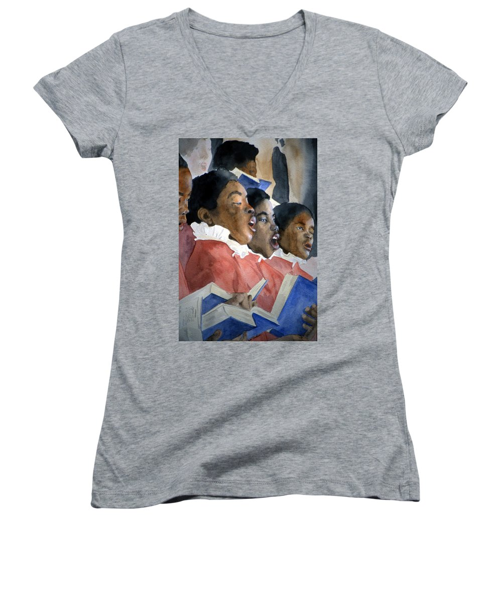 Choir Women's V-Neck (Athletic Fit) featuring the painting Sing Out Your Joy by Jean Blackmer
