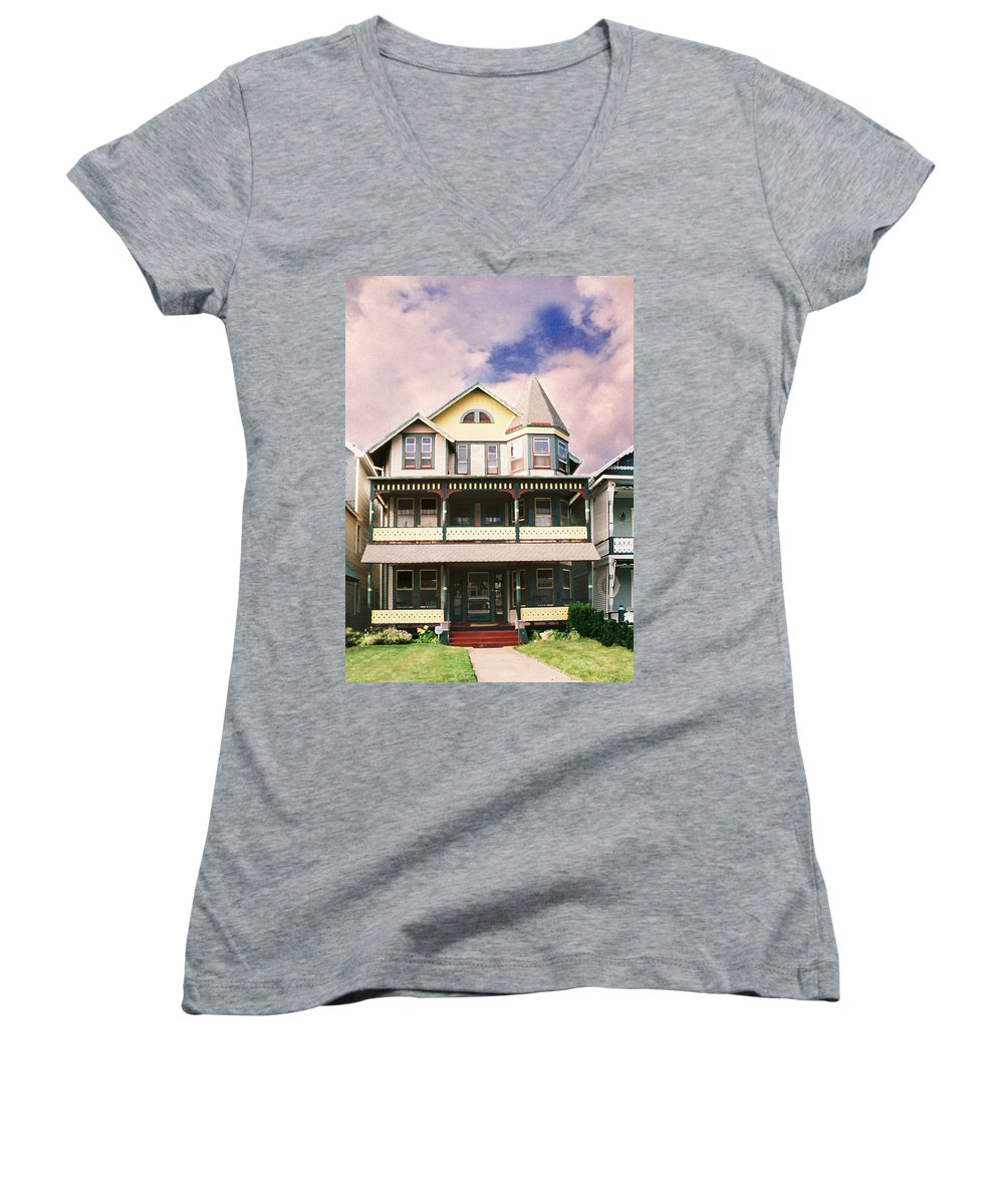 Landscape Women's V-Neck (Athletic Fit) featuring the photograph Sisters Panel Three Of Triptych by Steve Karol